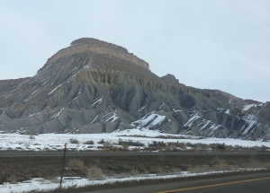 Driving back from Grand Junction.  Love this one particular mountain.
